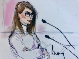 Lori Loughlin appears in a federal courtroom in Los Angeles after being arrested in a college admissions fraud case on March 13, 2019. (Credit: Mona S. Edwards)