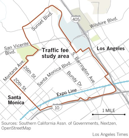 A Los Angeles Times graphic shows the $4 traffic fee study area.