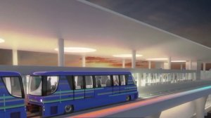This still from animated footage released by Los Angeles International Airport shows what a train shuttling in and out of the airport will look like upon its expected completion in 2023.