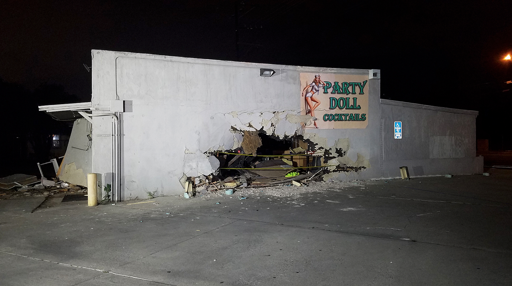 A pickup truck crashed into the Party Doll bar in Highland on March 20, 2019. (Credit: KTLA)