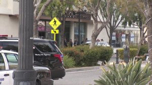 Police surround the scene of a deadly officer-involved shooting at the Church of Scientology in Inglewood on March 27, 2019. (Credit: KTLA)