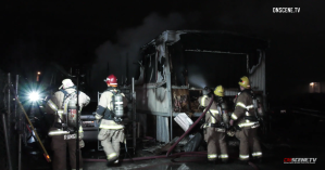 Firefighters respond to a fire at a mobile home in Highland on March 9, 2019. (Credit: Onscene.tv)