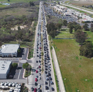 Vehicles are seen congesting a roadway in Lake Elsinore on March 17, 2019. (Credit: City of Lake Elsinore/ Instagram)