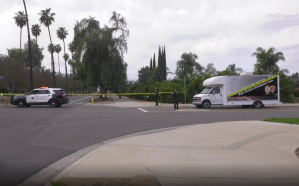 "Riverside police respond to Victoria Avenue near Myers Street in Riverside after dispatchers received a call about a ""cyclist down"" on March 23, 2019. (Credit: RMG News)"