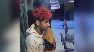 The man pictured in this surveillance camera image is being sought in connection with the theft of two cars from a Santa Monica auto dealership on Feb. 24, 2019. (Credit: Courtesy)
