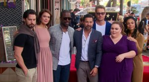 "Mandy Moore is flanked by her co-stars in ""This Is Us"" after receiving a star on the Hollywood Walk of Fame on March 25, 2019. (Credit: CNN)"