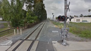 The train tracks west of San Dimas Canyon Road, near Arrow Highway, in La Verne, as pictured in a Google Street View image in March of 2018.