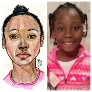 Trinity Love Jones, 9, (right), pictured in a photo released by investigators on March 10, 2019, alongside a sketch released by detectives earlier while they were still trying to learn the victim's identity. (Credit: Los Angeles County Sheriff's Department)