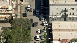 Police respond to a suspicious package call at University Park near USC on March 13, 2019. (Credit: KTLA)