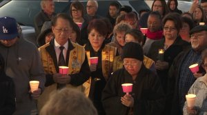Hundreds of community members gathered in Hacienda Heights on March 7, 2019, to hold a vigil for an unidentified young girl whose body was discovered in a suitcase along a hiking trail on March 5, 2019. (Credit: KTLA)