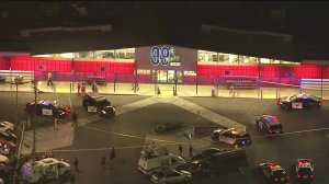 The 99-Cent store in Rowland Heights where the suspect was taken into custody is seen in aerial video on April 24, 2019. (Credit: KTLA)