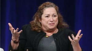 Director Abigail Disney speaks onstage during INDEPENDENT LENS' 'The Armor of Light' panel as part of the PBS portion of the 2016 Television Critics Association Winter Press Tour at Langham Hotel on January 18, 2016 in Pasadena. (Credit: Frederick M. Brown/Getty Images)