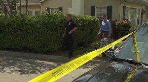Police investigate a home in Arcadia on April 9, 2018. (Credit: KTLA)