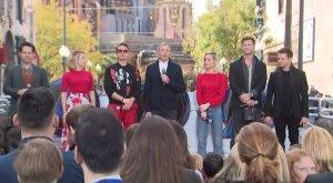 (Left to right) Paul Rudd, Scarlett Johansson, Robert Downey Jr., Disney CEO Bob Iger, Brie Larson, Chris Hemsworth and Jeremy Renner on stage at Disney's California Adventure on April 5, 2019. (Credit: KTLA)