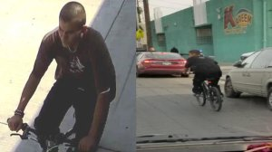 The man accused of slashing people's faces in South Gate and South L.A. in four attacks reported between March 20 and April 1, 2019, is seen in surveillance images released by LAPD on April 2, 2019.