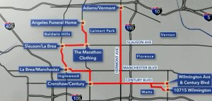 An illustrated map shows the route Nipsey Hussle's funeral procession will take on April 11, 2019 in Los Angeles. (Credit: KTLA)