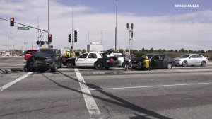 A Los Angeles County Sheriff's Department patrol car was involved in a crash in Lancaster on April 20, 2019. (Credit: DonLuisMeza Video/Christopher Salazar)