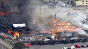 A recycling facility was ablaze in Ontario on April 30, 2019. (Credit: KTLA)