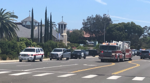 Deputies investigate reports of a gunman near a synagogue in Poway on April 27, 2019. (Credit: KSWB)