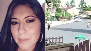 Marylou Villalobos Palos is seen, left, in an undated photo provided by her family, and at right in a still from home surveillance footage as she ran from an assailant who wound up stabbing her on April 16, 2019, in Lake Forest.