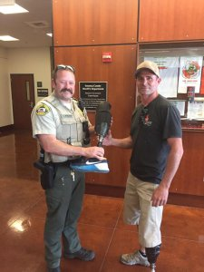 Sonoma County sheriff's deputies returned a prosthetic leg to a skydiver who lost it during a jump on April 22, 2019. (Credit: Sonoma County Sheriff's Department)