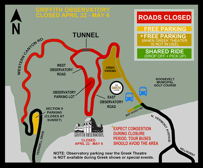 A map was provided on the Griffith Observatory website.