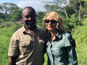 Kim Endicott and her tour guide, Jean Paul, appear in an image CNN obtained from Wild Frontiers on April 7, 2019.