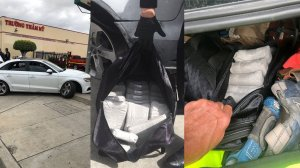 Officials discovered packages of drugs in a vehicle that crashed in Santa Ana after a pursuit involving Border Patrol agents on April 3, 2019. (Credit: Santa Ana Police Department)