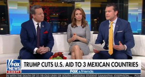 """This screenshot from a Fox News broadcast shows a headline erroneously referring to Honduras, El Salvador, and Guatemala as """"3 Mexican Counties."""""""