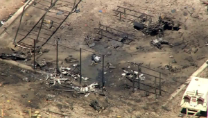 A plane crashed in the prison yard of a facility in Norco on April 22, 2019. (Credit: KTLA)