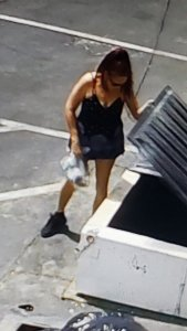 A woman wanted in connection with a puppy dumping incident in Coachella is seen in a April 18, 2019, surveillance image released by the Riverside County Department of Animal Services.