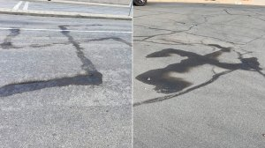 Swastikas burned into a Covina street on April 4, 2019, are seen in a photo released April 9, 2019, by the Los Angeles County Sheriff's Department.