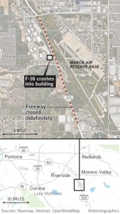 A map shows where the 215 Freeway is closed after a May 16, 2019, fighter jet crash. (Credit: Los Angeles Times Graphics)