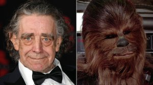 """Actor Peter Mayhew is seen, left, at the premiere of """"Star Wars: The Last Jedi"""" at The Shrine Auditorium on Dec. 9, 2017, and right, is seen in a still image from """"Star Wars: Episode IV A New Hope."""" (Credit: Ethan Miller / Getty Images)"""