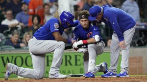 Chicago Cubs' Albert Almora Jr. is consoled after hitting a foul ball into the stands in Houston on May 29, 2019. (Credit: David J Phillip/AP)