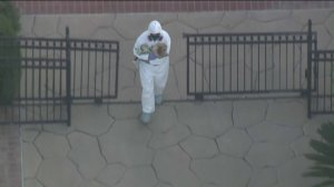 Officials donned hazmat suits as they removed nearly 100 dogs from a home in the City of Orange on May 30, 2019. (Credit: KTLA)