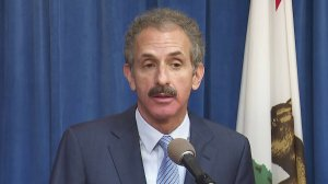 Los Angeles City Attorney Mike Feuer speaks during a news conference on May 7, 2019. (Credit: KTLA)