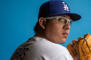 Julio Urias of the Los Angeles Dodgers poses for a portrait during photo day at Camelback Ranch on Feb. 20, 2019 in Glendale, Arizona. (Credit: Rob Tringali/Getty Images)