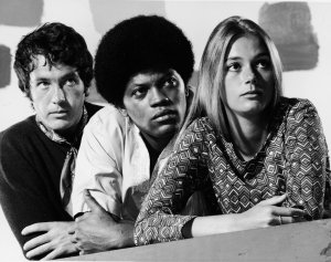 "Promotional studio portrait of actors Michael Cole (L), Clarence Williams III and Peggy Lipton for the television series, ""The Mod Squad,"" circa 1968. (Credit: ABC/Hulton Archive/Courtesy of Getty Images)"