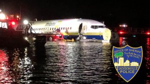 No fatalities were reported when a jetliner went down in the St. Johns River in Jacksonville, Florida on May 3, 2019. (Credit: Jacksonville Sheriff's Office)