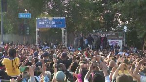 The South L.A. community celebrates the dedication of Obama Boulevard on May 4, 2019. (Credit: KTLA)