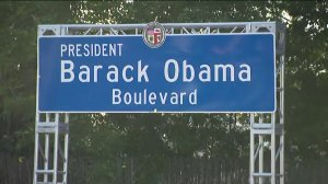A stretch of Rodeo Drive in South Los Angeles was renamed Obama Boulevard May 4, 2019. (Credit: KTLA)