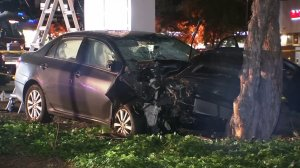 The damaged car Isaiah Peoples is accused of using to target people he thought were Muslim is seen on April 24, 2019, in Sunnyvale. (Credit: KGO via CNN)