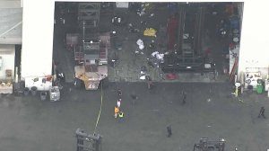 An investigation was underway at the Port of Los Angeles after an industrial accident left one worker dead and another injured on May 15, 2019. (Credit: KTLA)