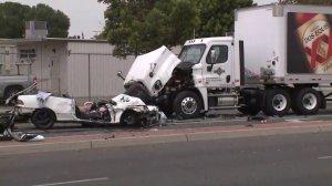The scene of a crash in Santa Ana is shown on May 13, 2019. (Credit: KTLA)