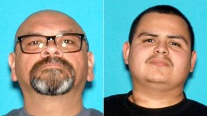 Michael Levario, 48, of San Bernardino, left, and Matthew Luna, 18, of San Bernardino, pictured in photos released by the San Bernardino Police Department following their arrested on May 25, 2019.