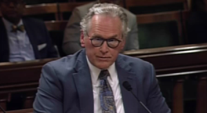 PG&E CEO Bill Johnson testifies before the state Assembly Utilities and Energy Committee in Sacramento on May 15, 2019. (Credit: The California Channel via calchannel.granicus.com)