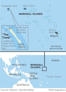 A Los Angeles Times map shows the location of the nuclear dump site in the Marshall Islands.
