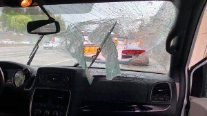 A passenger was impaled after a homeless man allegedly threw a tripod onto a freeway in Sacramento on May 16, 2019. (Credit: California Highway Patrol)