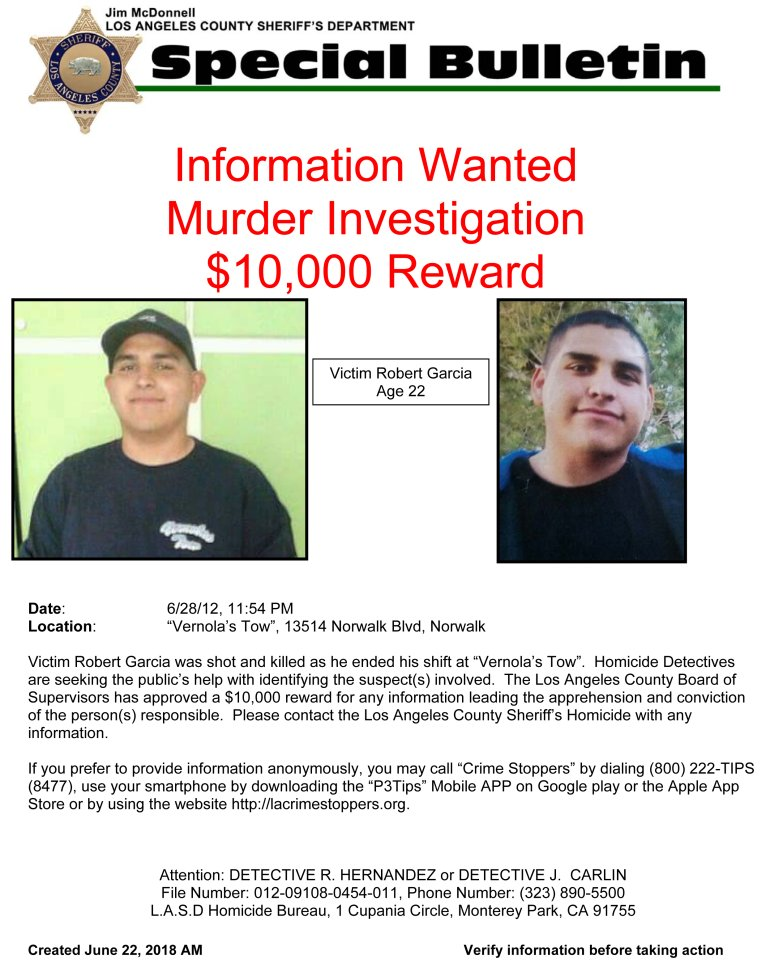 Los Angeles County Sheriff's Department wanted flier.